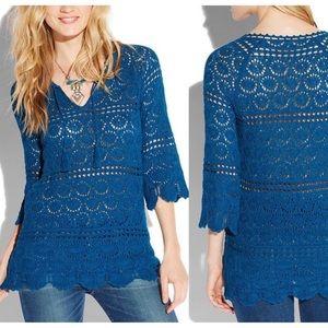 LUCKY BRAND Crochet Sapphire Tunic